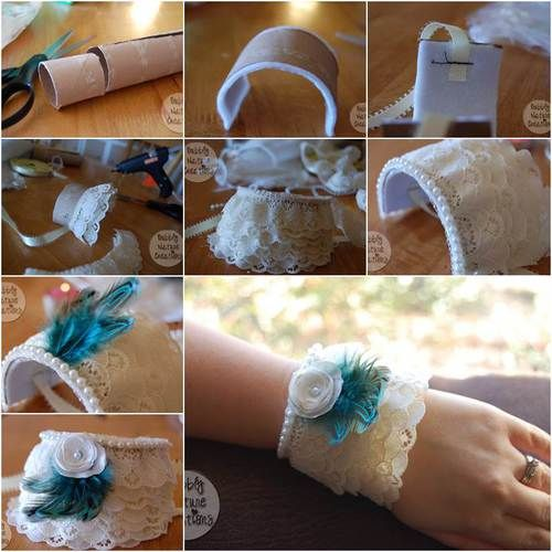 How To Diy Lace Cuff Bracelet From Toilet Paper Roll Diy Bracelets Easy Lace Cuff Bracelet Lace Cuffs