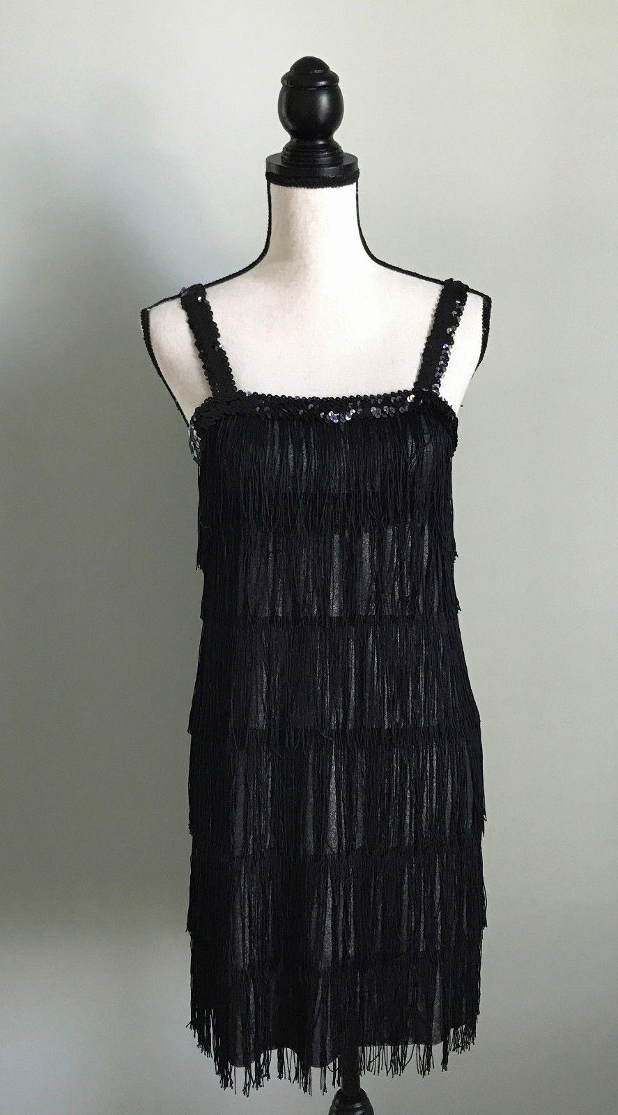 Cool great costumes usa black silver sequin tassel fringe flapper