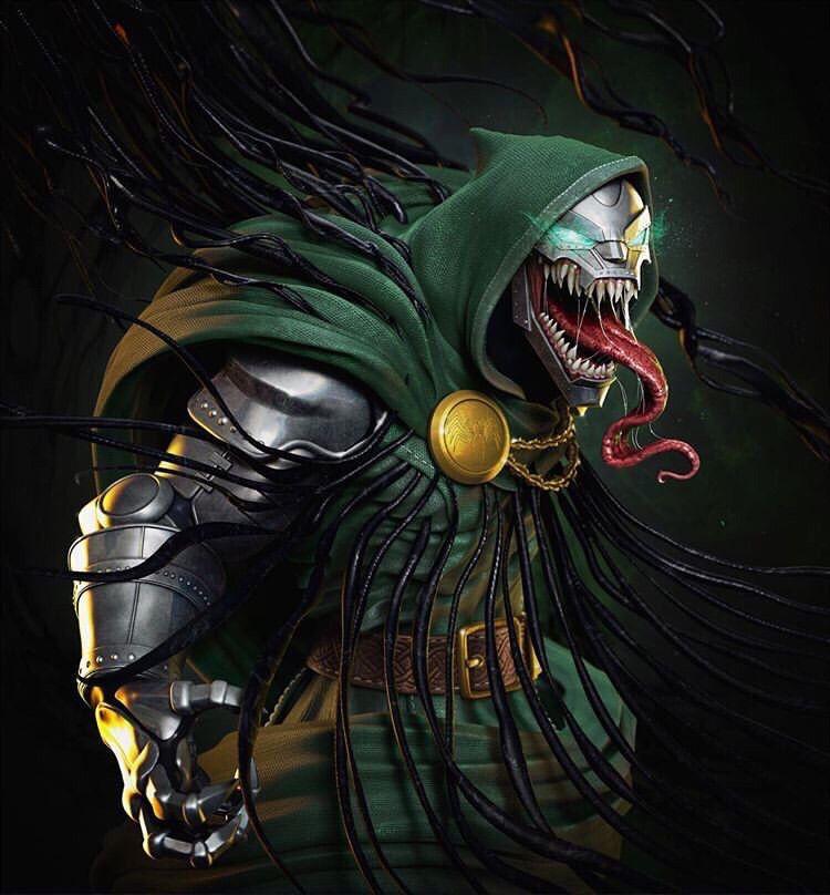 Venomized Dr Doom By Tiago Ziobini Marvel Villains Symbiotes Marvel Marvel Art