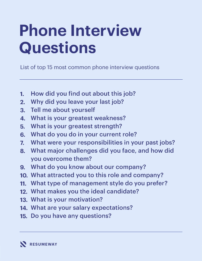 Top 15 Phone Interview Questions And How To Answer Them Resumeway Interview Questions Phone Interview Questions Phone Interviews