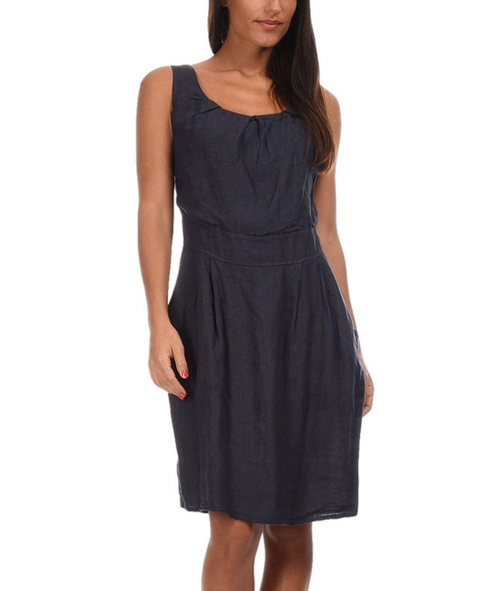 Navy Blue Maud Linen Dress by Couleur Lin #zulily #zulilyfinds ...