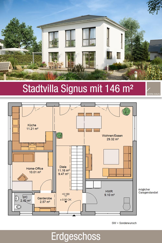 Stadtvilla Grundriss 146 m² 5 Zimmer Erdgeschoss