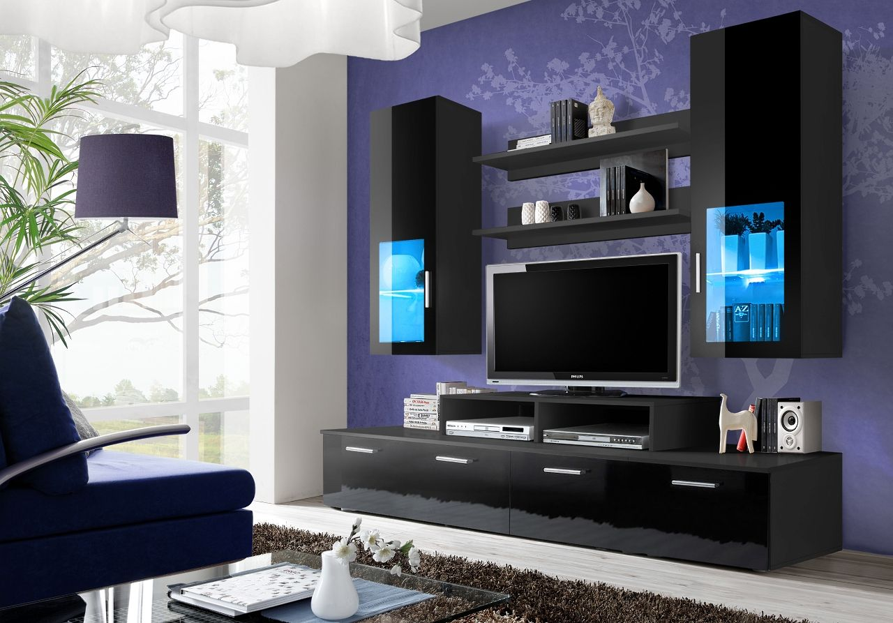 Toledo 3 Noir Meuble Tv Contemporain Modern Tv Wall Units Modern Tv Units Living Room Wall Units