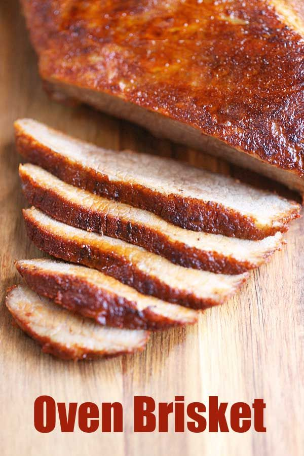 An easy recipe for oven brisket. Rub with spices, cook in a foil pouch for a few hours, then briefly broil to crisp up the fat cap. Easy and delicious!