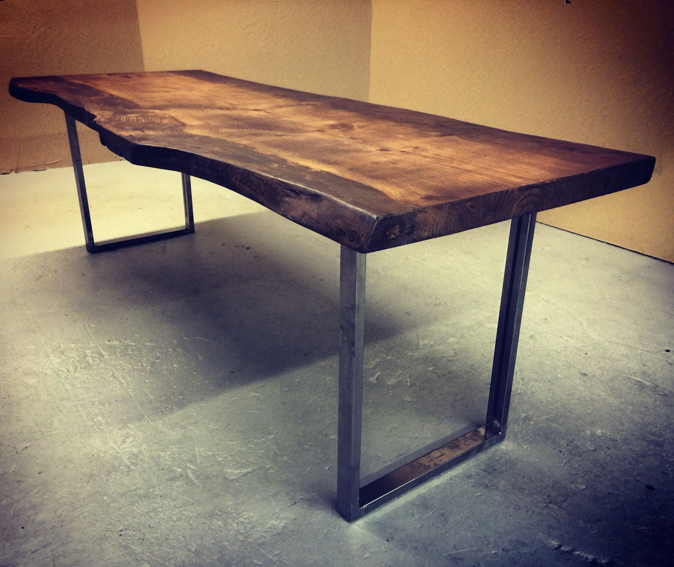 Unique Table. Solid Slab Of Douglas Fir With Live Edge. Industrial Steel  Legs.