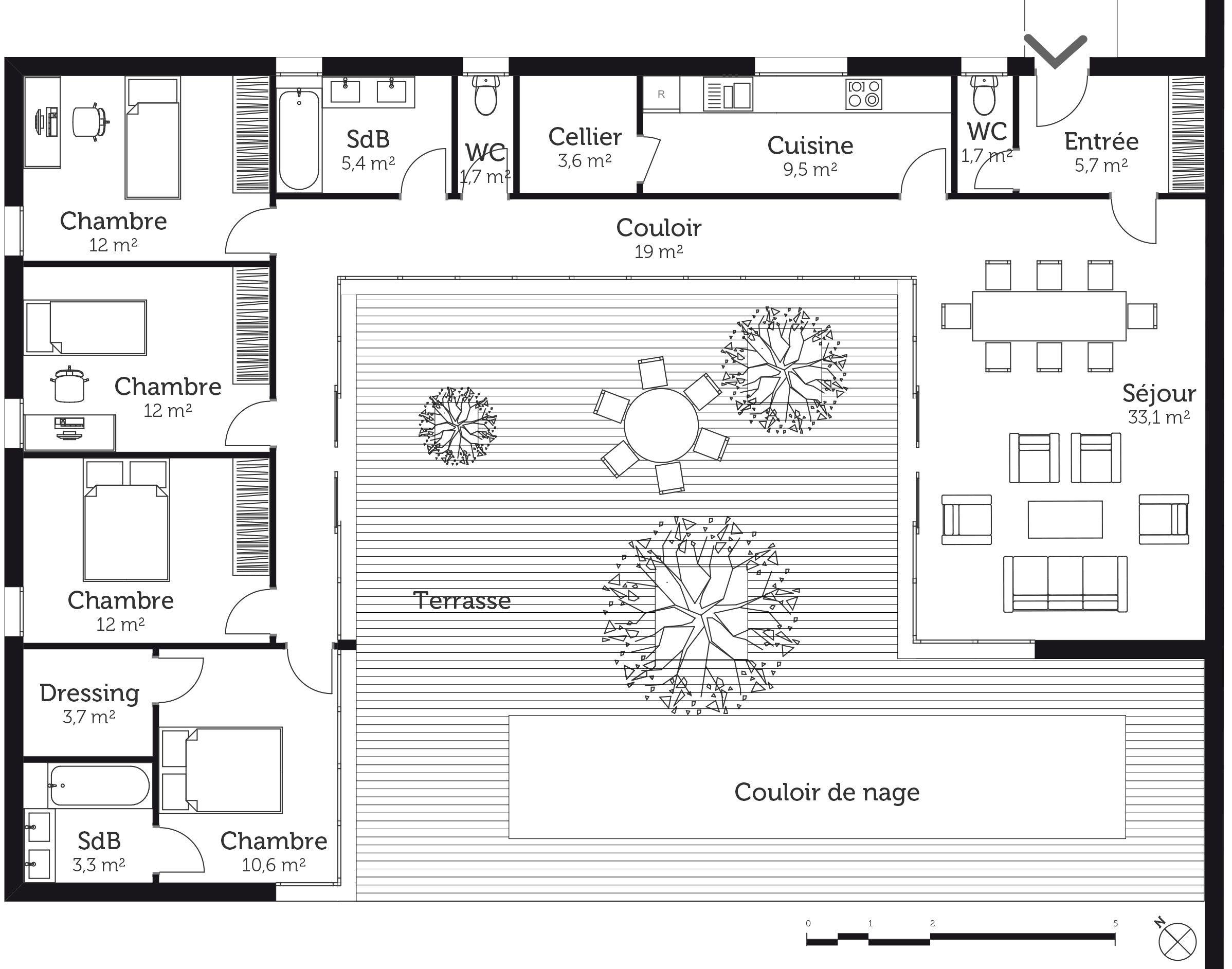 Plan Au Sol Plan Maison En U Plans De Maison 5 Chambres Maisons En U