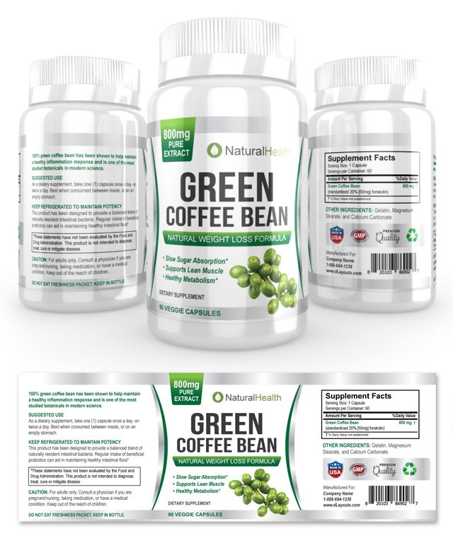 Green Coffee Bean Extract Supplement Label Template Http Www