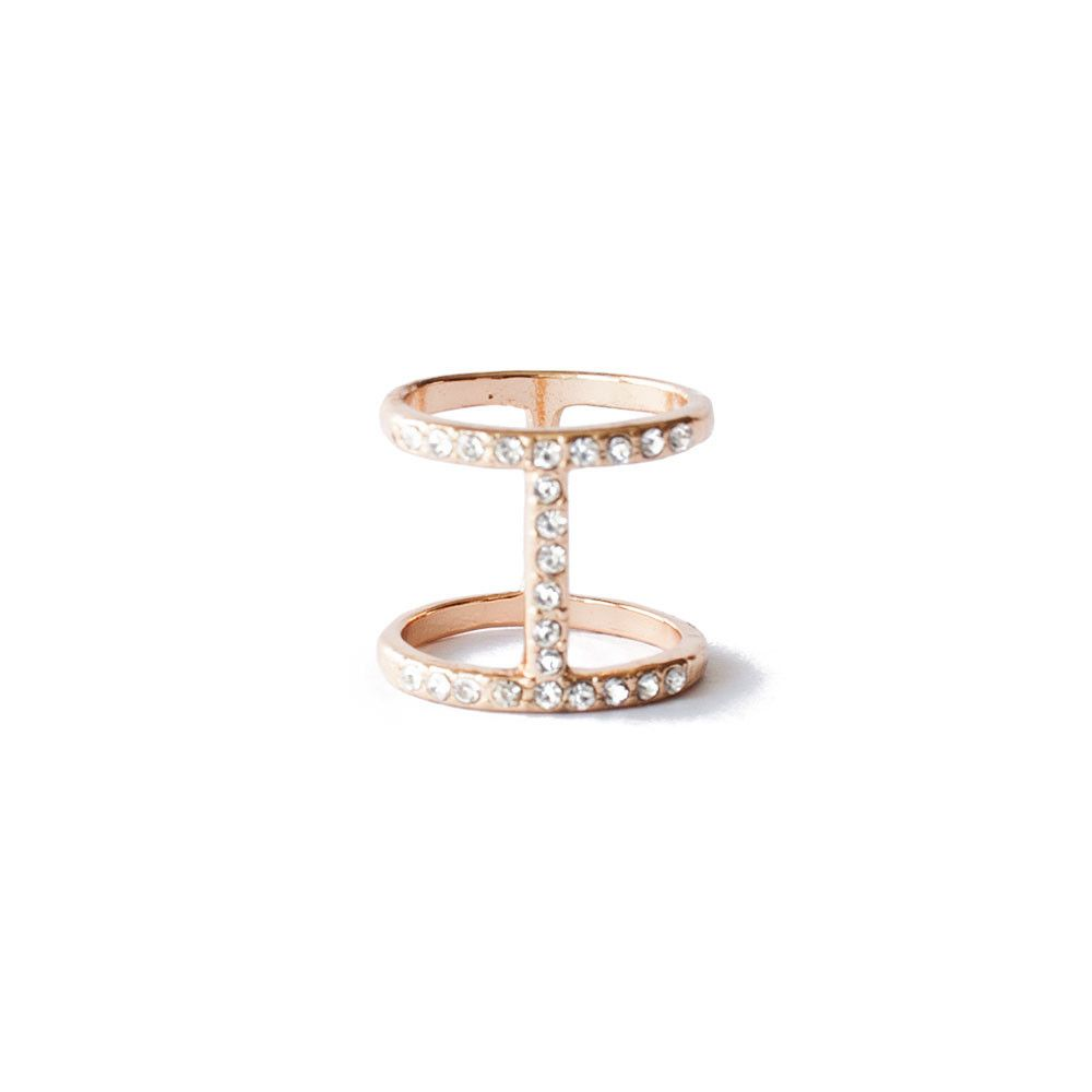 Crystal Double Bar Ring