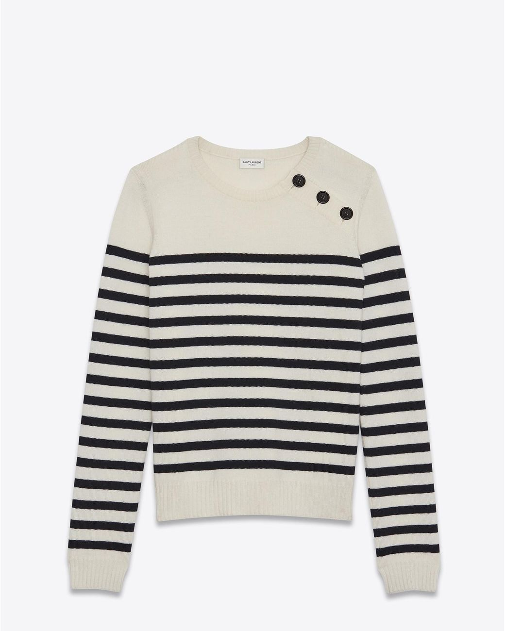 fee73426803 Women s White Mariniére Sweater In Ivory And Black Striped Wool ...