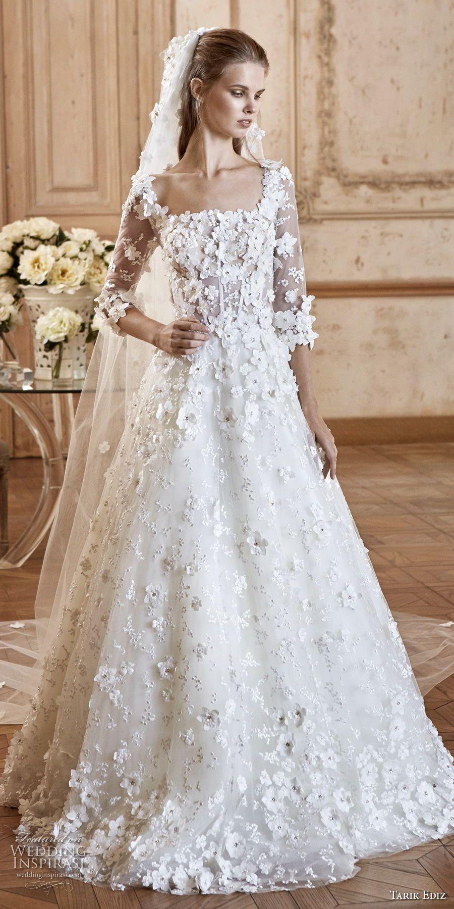 Tarik ediz white wedding dresses square necklines wedding