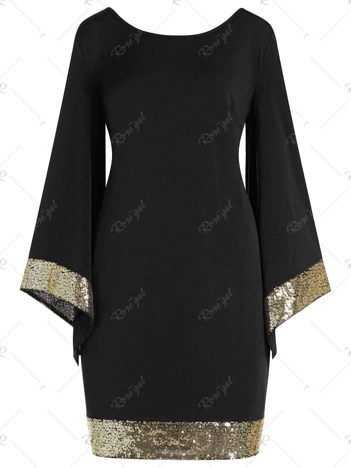 4e72dc61de0 Bell Sleeve Sequins Plus Size Dress