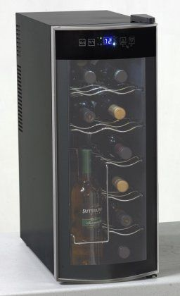 12 Bottle Thermoelectric Counter Top Wine Cooler with 8 Bottles Horizontal 4 Bottles Vertical Thermoelectric Cooling System and Curved Glass Door for a Modern and Sylish Look