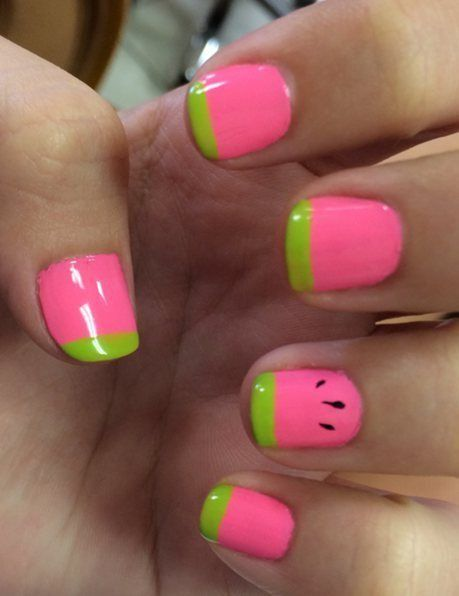 summer nail designs for short nails 2016 - 37 Super Easy Nail Design Ideas For Short Nails Nail Ideas - Food