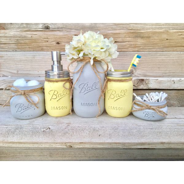 Yellow And Grey Bathroom Decor Yellow And Gray Mason Jar Bath Set 37 Liked On Polyvore Featuring Gray Bathroom Decor Yellow Bathroom Decor Grey Bathrooms