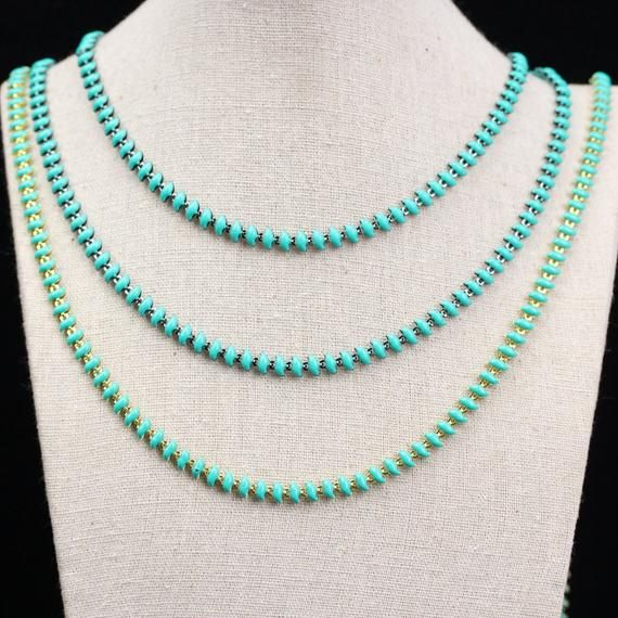 10Feet/lot Turquoise Green Color Enamel Chains Rosary Jewelry,Boomerang Shape Enamel Glass Beads Chain Boho Necklace Craft Bracelet Findings #rosaryjewelry