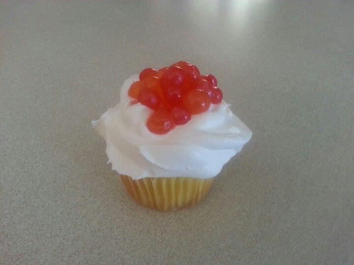 Popping bo bo ball cupcake by A Cupcake Queen - Crystal Gruber.