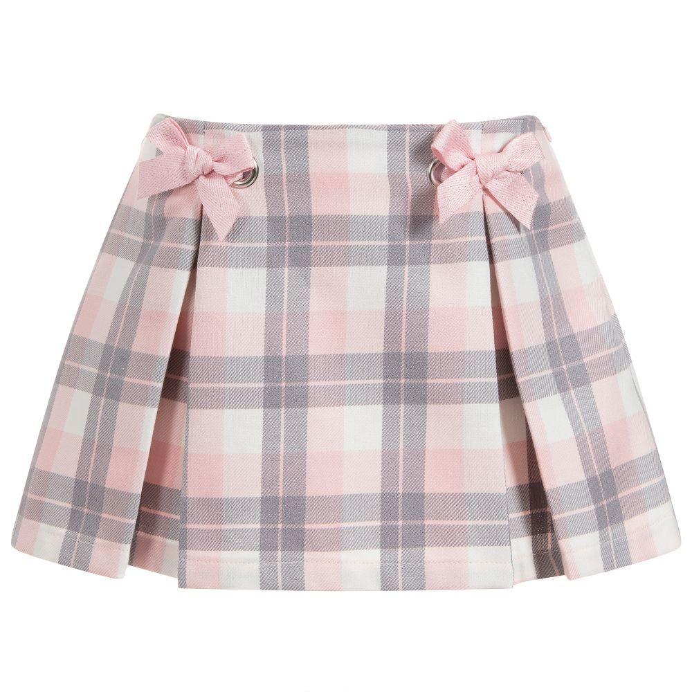 Girls Children Kids Tartan Check Box Pleat Skirt  Elasticated Waist