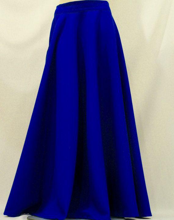 1763cb8539 Royal Blue Full Circle Skirt-Maxi Skirts-Royal Blue Color Long, ETSY,  $50-$100
