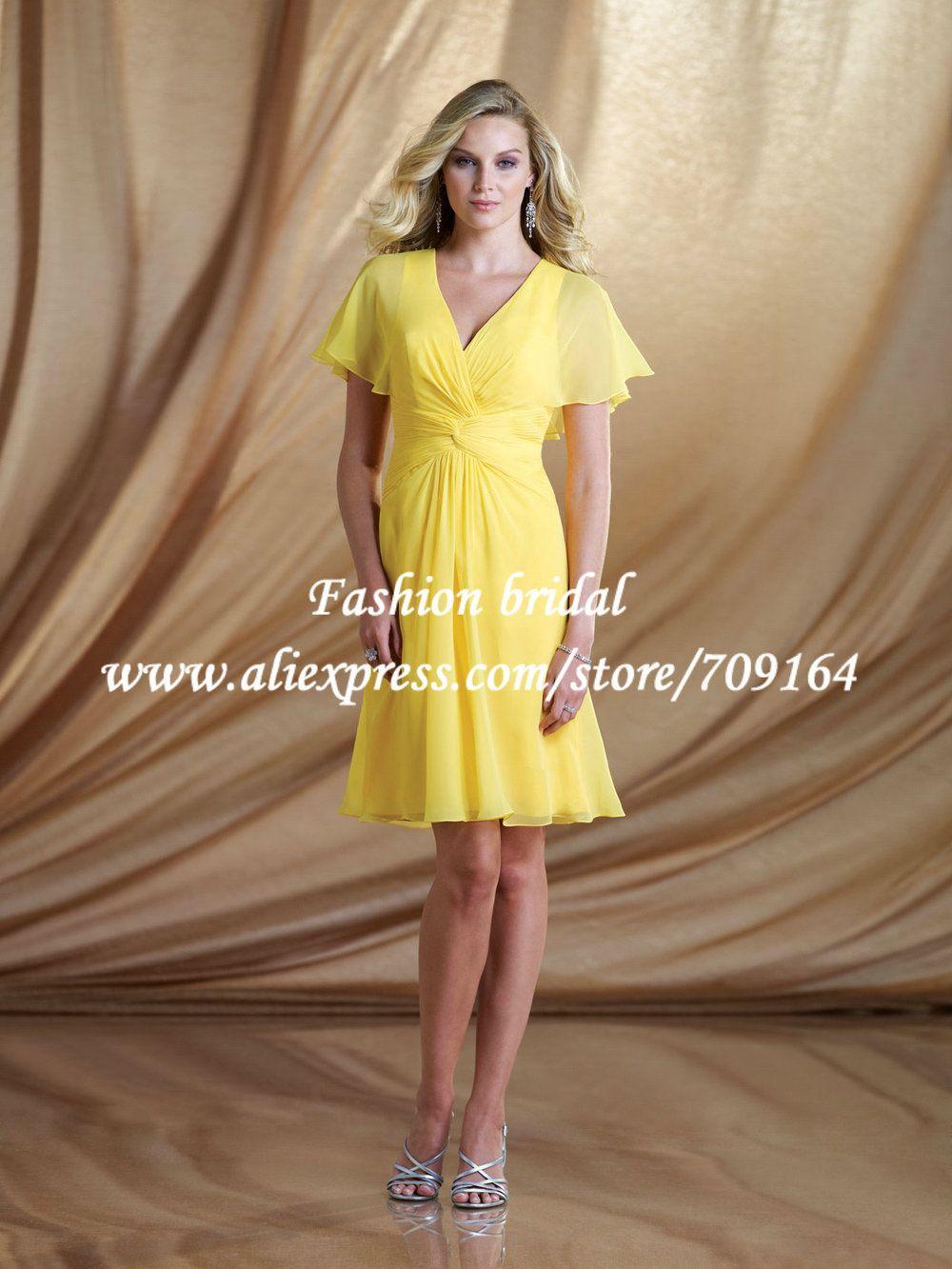 Elegant V-Neck Modest Junior Yellow Bridesmaid Dresses with Sleeves ...