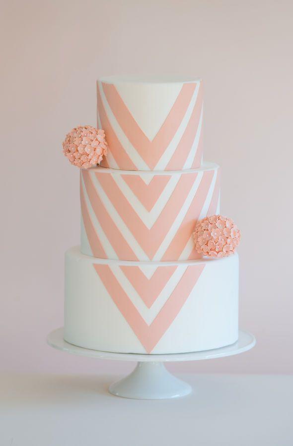 So simple yet so pretty #wedding #weddingcake #chevron #peach #cake