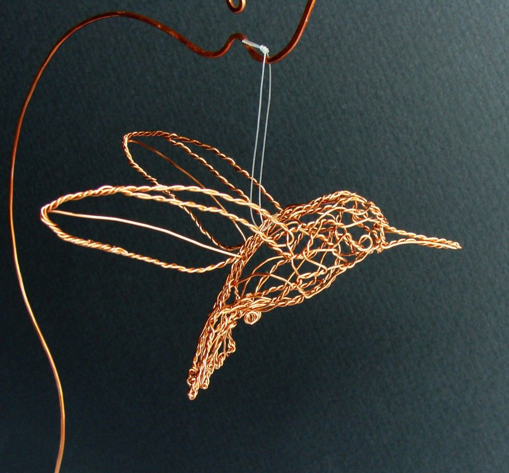 Copper Hummingbird Wire Sculpture by sparkflight on Etsy, $75.00 ...