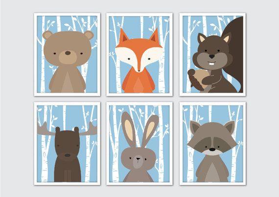 Woodland Tiere Kinderzimmer Kunst, Woodland Kinderzimmer Prints, Racoon, Kaninchen, Fuchs, Bär, Eichhörnchen, Elch Kindergarten Wandkunst, Woodland Raum Dekor