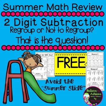 Two Digit Subtraction WITH Regrouping and WITHOUT Regrouping (FREE ...