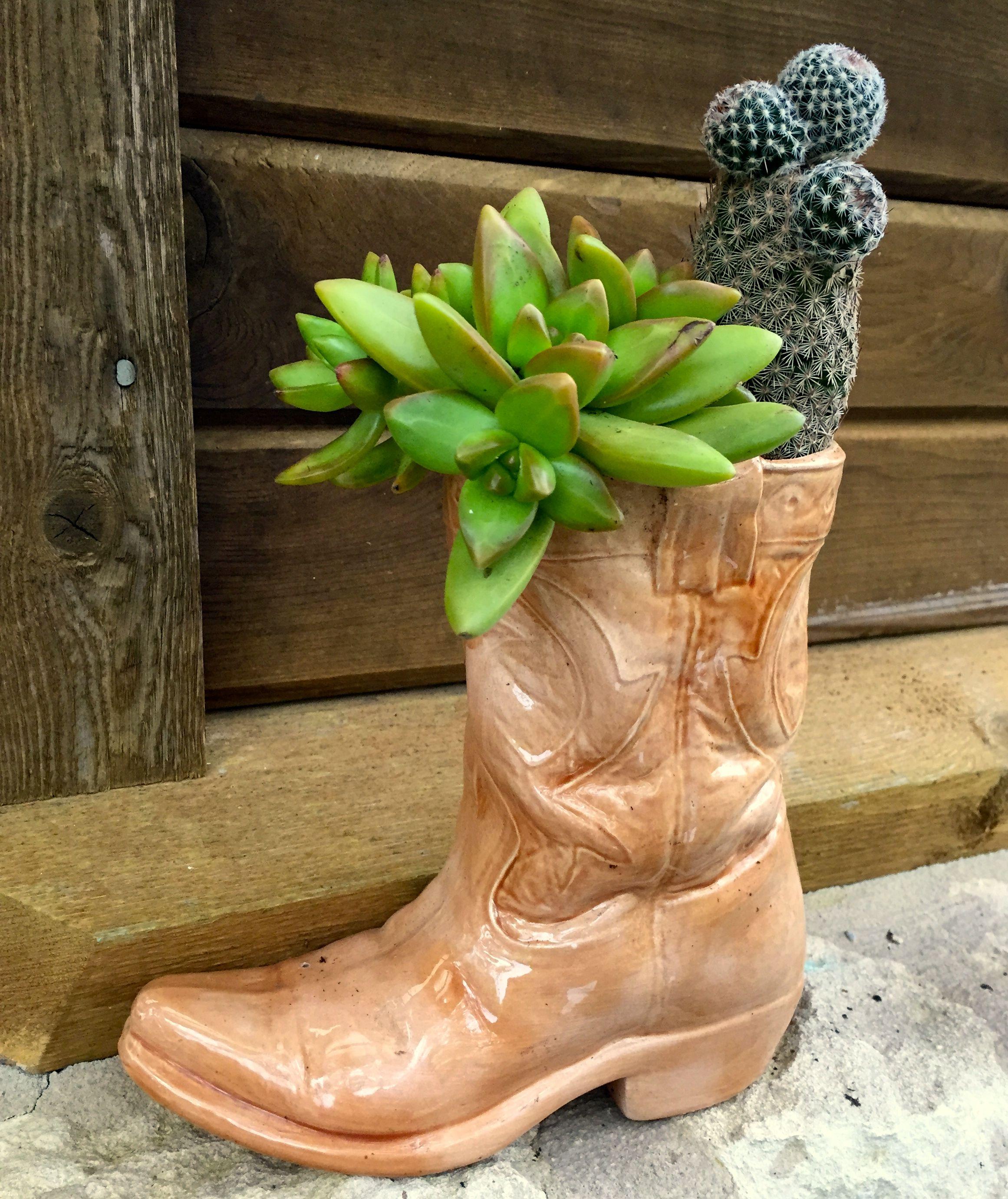 Vintage Cowboy Boot Planter Cactus Succulent Old Boots Old