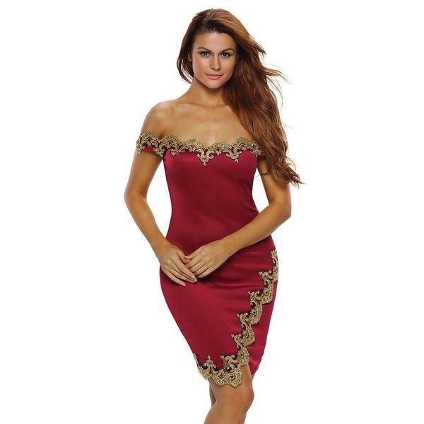 d785e6ab9e2f Off-Shoulder Split Gold Lace Short Bodycon Dress – risechic.com