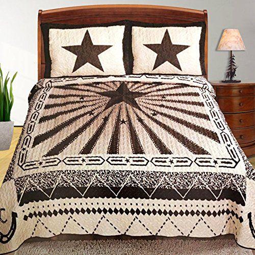 Western Peak Western Pattern Design Texas Lone Star Rays Horse Shoe Cabin  Lodge Luxury Quilt Bedspread Coverlet Comforter 3 Piece Beige Brown Set  (Queen) ...