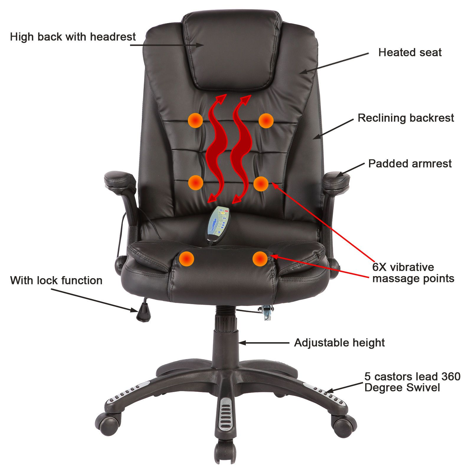 Heated Vibrating Mage Chair Executive Ergonomic Computer Office Desk Brown 709202326436 Ebay
