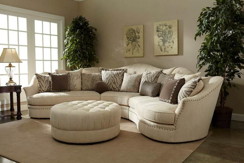 Lovely Grey Living Room Design #2 - Curved Sectional Sofa ...