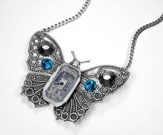 Steampunk Necklace ~ Vintage Art Deco Watch Dial Face Silver Butterfly Pendant Black Blue Crystal Stones ~ by edmdesigns at Etsy