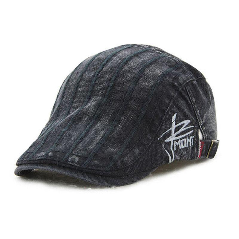 608258e831d7f Unisex Cotton Embroidery Stripe Beret Hat Duckbill Golf Flat Buckle Visor  Cabbie Cap For Men Women