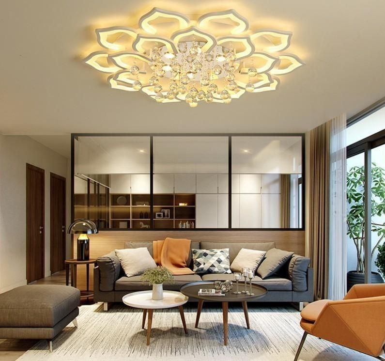 Led Ceiling Lights Living Room For 15 25square Meters Bedroom With Crystal Remote Control Lamparas Detecho Moderna Home Fixtures In 2021 Ceiling Lights Living Room Chandelier In Living Room Living Room Lighting