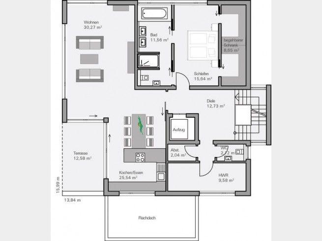 Grundriss EG Familienhaus Collmann Villa mit überdachter Terrasse