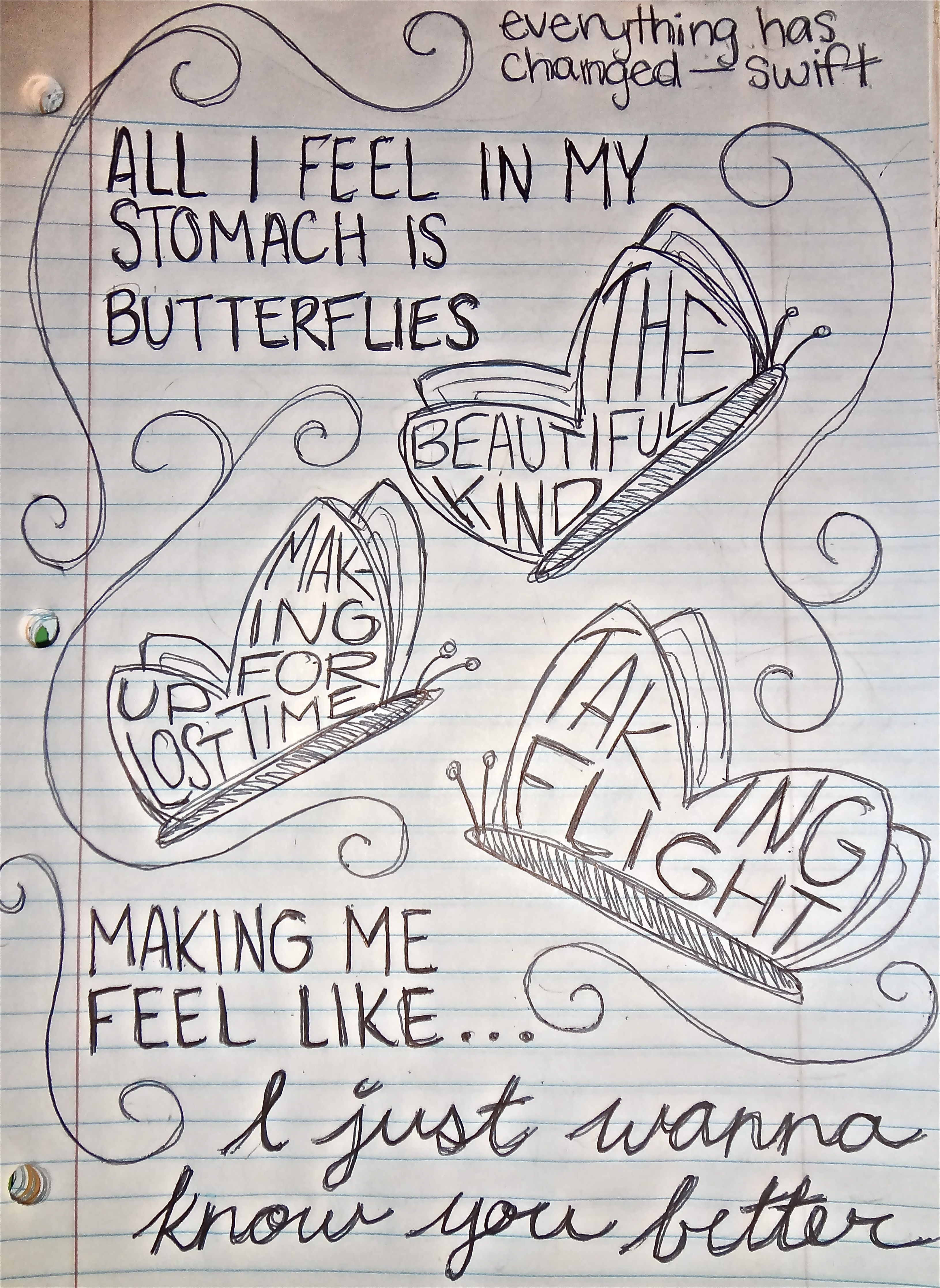Taylor Swift Song Lyrics Drawings I just wanna know you ...
