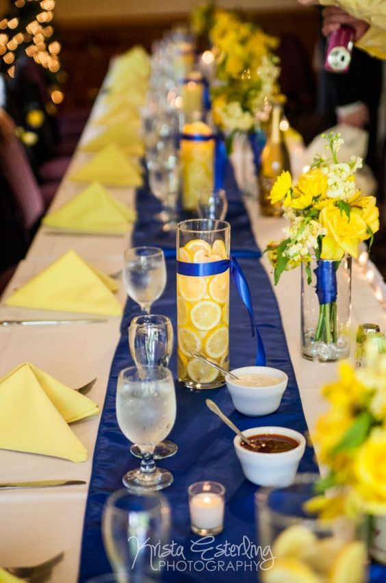 Blue And Yellow Centerpieces Modern Color Combination For Wedding Theme Yellow Wedding Decorations Yellow Centerpieces Yellow Wedding Theme