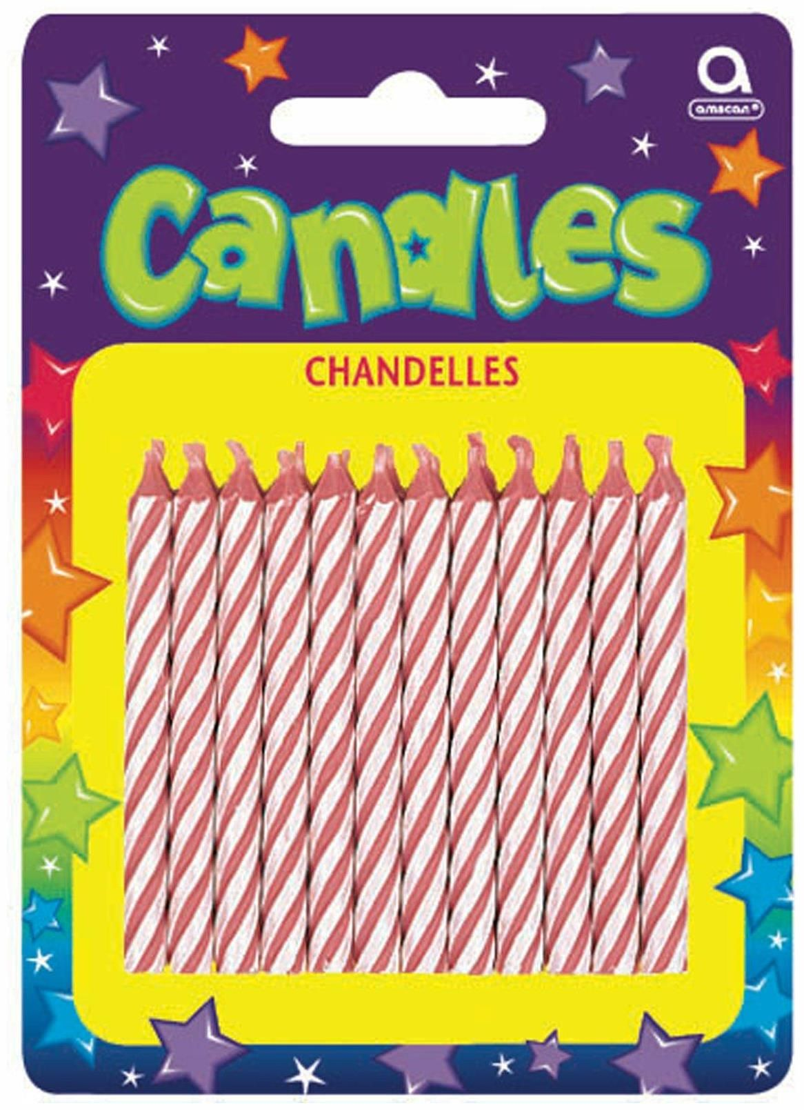Candy stripe pink birthday candles 24