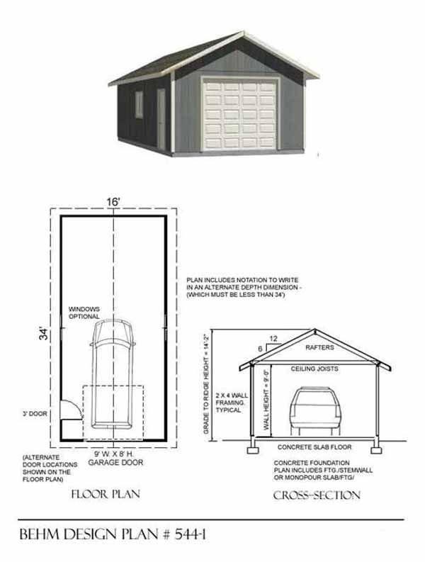 544 1 16 X 34 Garage Plans Shop Plans How To Plan