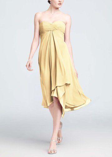 $99 David's Bridal Bridesmaid Dresses Strapless Chiffon Short ...