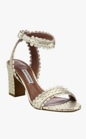 5927963b4 Here s Your Definitive Summer Sandal Shopping Guide. Tabitha Simmons  Leticia scalloped metallic split suede block-heel sandals