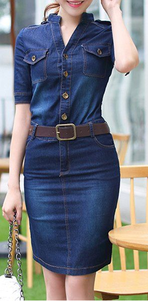 9876d471b4c Chic Women's 1/2 Sleeve Belted Bleach Wash Single Breasted Denim ...