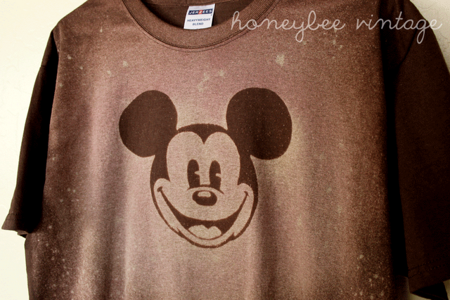 Honeybee Vintage: DIY: Stenciled Mickey Shirt Using Bleach