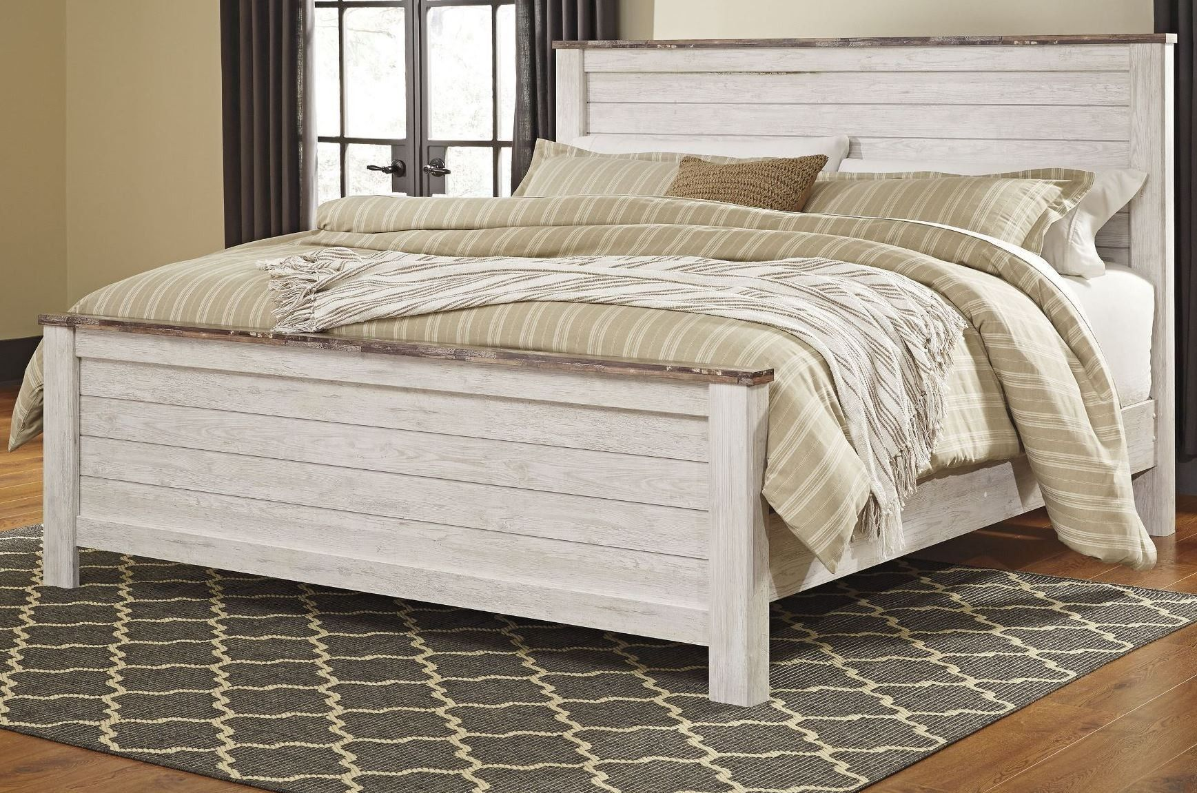Willowton Whitewash King Panel Bed Bedroom furniture