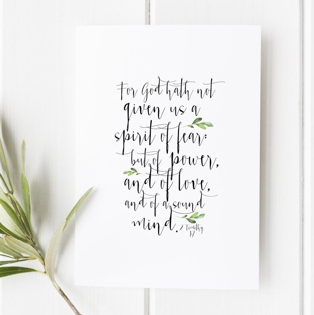 2 timothy 17 for god hath not given us a spirit of fear verses 2 timothy 17 for god hath not given us a spirit of fear bible verse print snow and company bible verse wall art bible verse gift negle Choice Image
