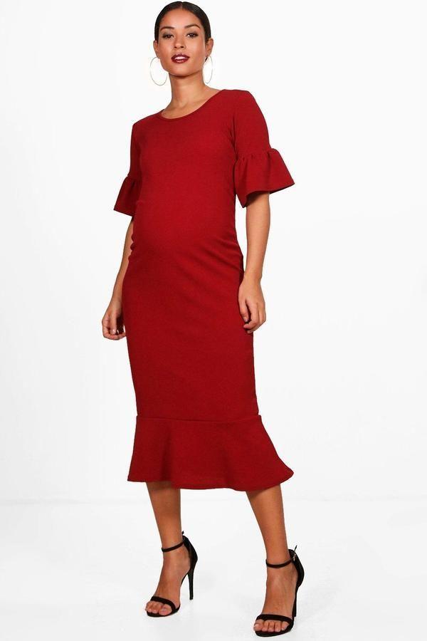 1dd9a46f189c3 Maternity Ruffle Fishtail Hem Midi Dress | Products | Dresses ...