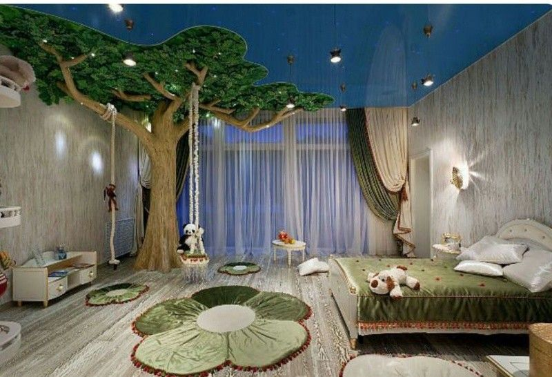 Interesting Forest Themed Children S Bedroom With Big Tree Cool Kids Bedrooms Cool Kids Rooms Creative Kids Rooms