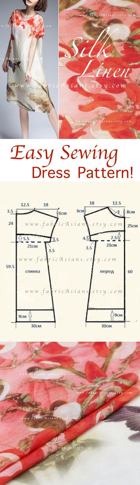 How to sew easy summer dress FREE PDF pattern by fabricAsians on ...