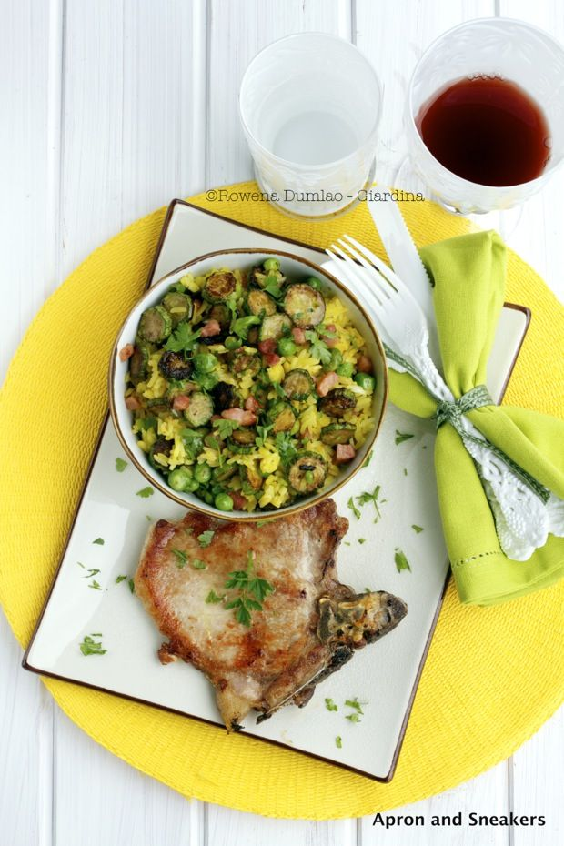 Apron and Sneakers - Cooking & Traveling in Italy: Pork Chops and Saffron Rice With Zucchini, Peas and Pancetta (make w/o cheese)